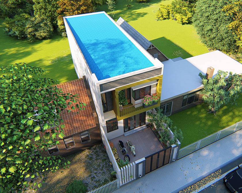 Thiết kế nhà phố 2 tầng tại Thuận An, Bình Dương