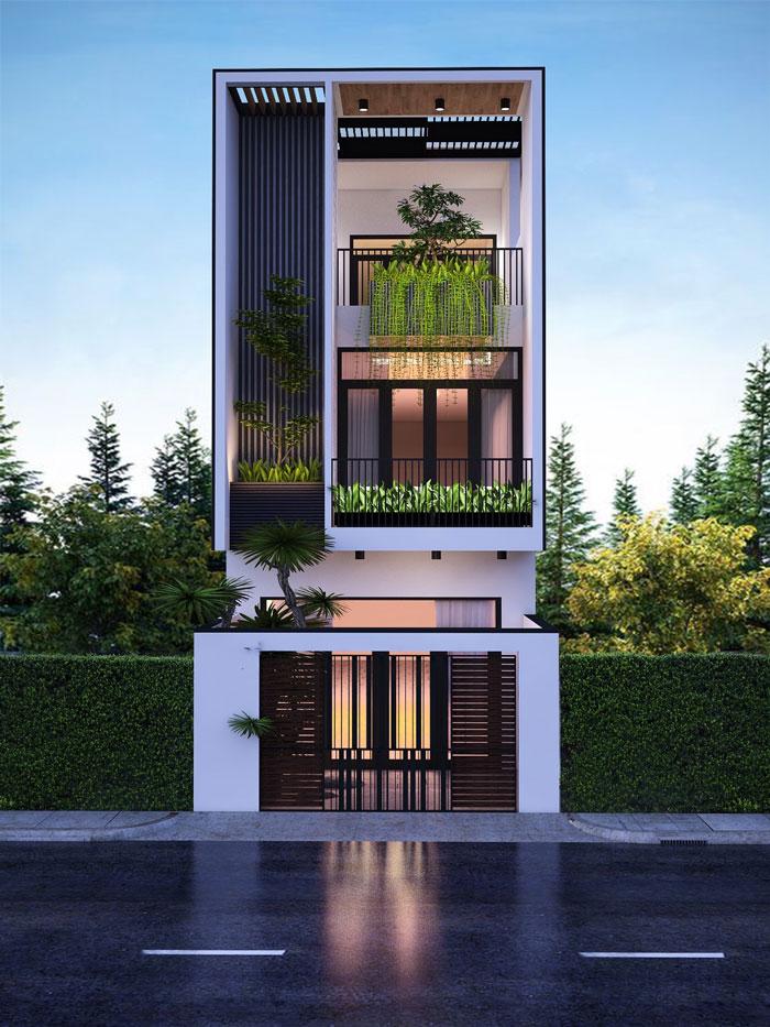 Mẫu nhà phố mặt tiền 5m 3 tầng hiện đại