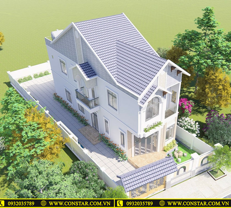Thiết kế xây dựng mẫu nhà 2 tầng mái thái tân cổ điển tại TpHCM