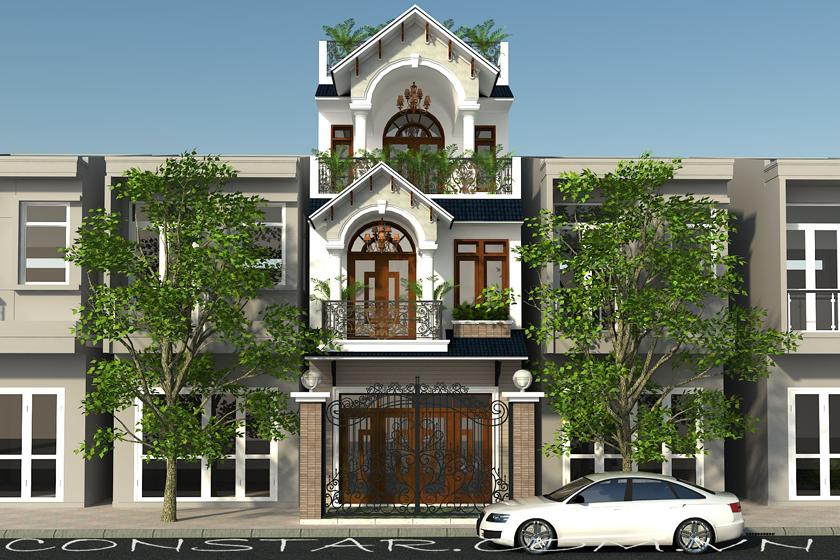 Thiết kế xây dựng phần thô nhà 3 tầng mái thái.