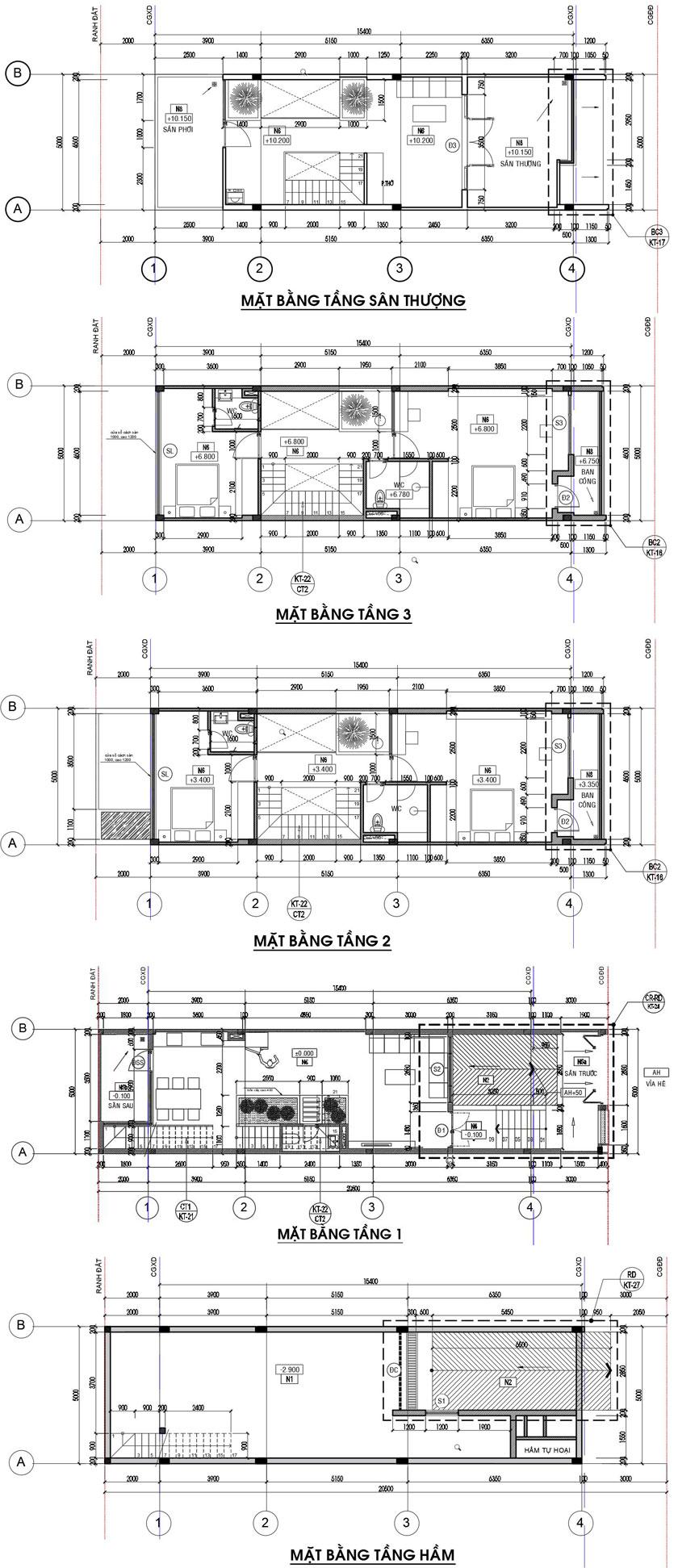 Thiết kế xây dựng nhà phố 4 tầng 1 hầm tại Quận Thủ Đức TpHCM