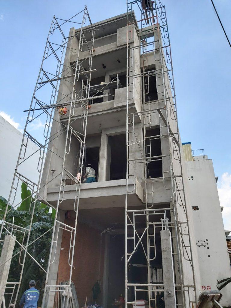 Hình ảnh thi công xây dựng nhà phố 4 tầng quận Thủ Đức Tháng 10-2019