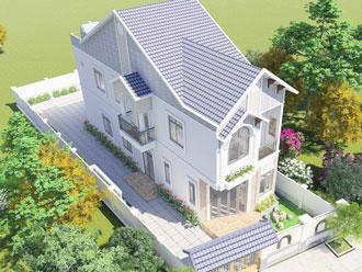 Thiết kế mặt tiền nhà phố 5m mái thái.