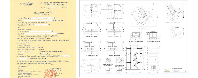 Thiết kế xin giấy phép xây dựng nhà ở mới.